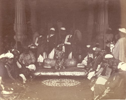 The Rao Raja [of Alwar] and his court.